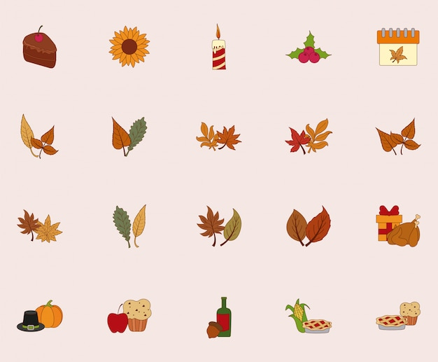Happy thanksgiving day icon set vector design