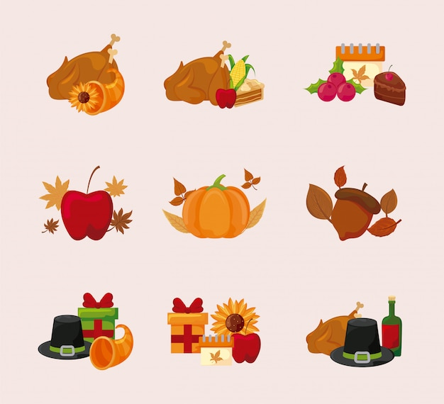 Happy thanksgiving day icon set vector design