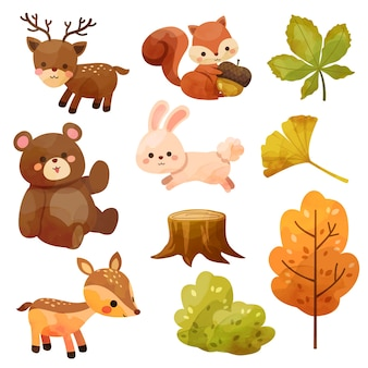 Happy thanksgiving day icon with squirrel, bear, rabbit, deer, stumps and leaves