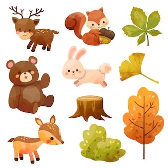 Icona di felice giorno del ringraziamento con scoiattolo, orso, coniglio, cervo, ceppi e foglie