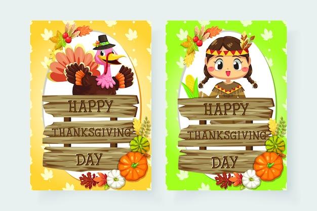 女の子とさまざまな木で作られた看板と幸せな感謝祭のアイコン。