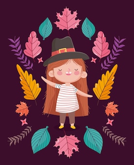 Happy thanksgiving day illustration with cute little girl wearing pigrim hat