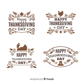 Happy thanksgiving day label collection