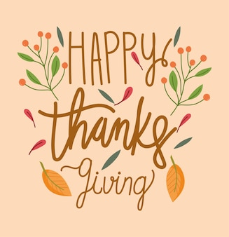 Happy thanksgiving day, lettering card branches fruits season celebration