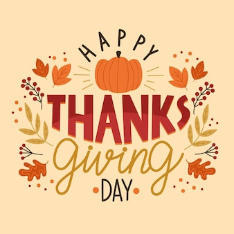 Happy thanksgiving day lettering design