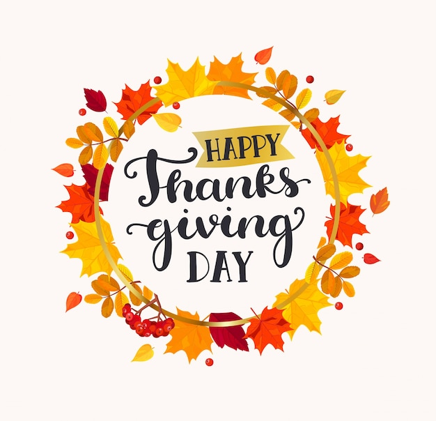 Happy thanksgiving day lettering in frame.