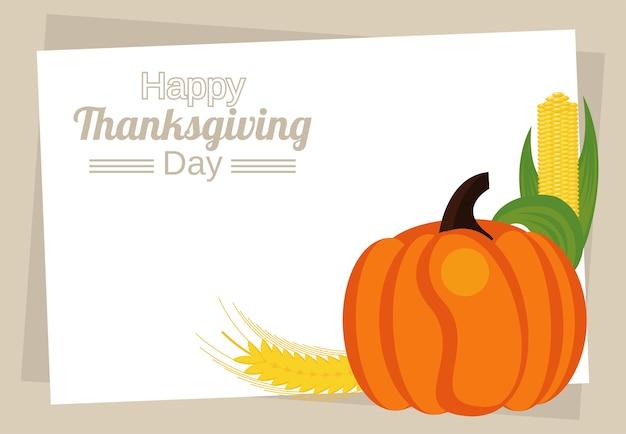 カボチャとトウモロコシの穂軸でレタリング幸せな感謝祭の日。