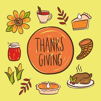 С днем благодарения надписи с набором значков рука рисовать стиль иллюстрации