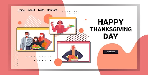 С днем благодарения семья из нескольких поколений в окнах веб-браузера обсуждает во время видеозвонка концепцию карантина по коронавирусу