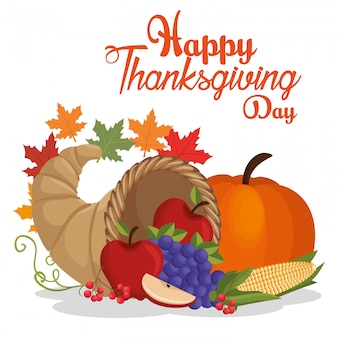 Happy thanksgiving day postcard vegetable fruit leaves autumn