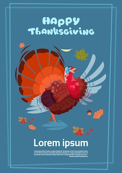 Happy thanksgiving day poster. autumn traditional harvest greeting card with turkey