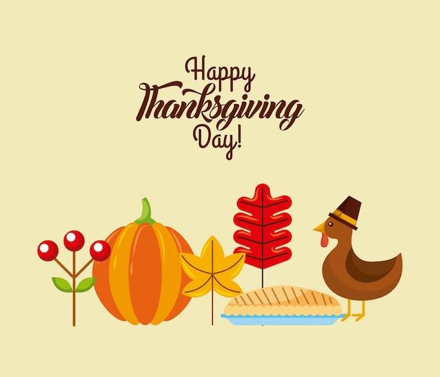 Happy thanksgiving day poster dinner menu cake turkey and pumpkin