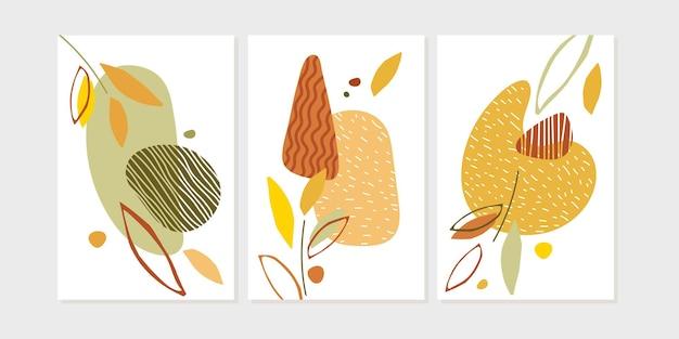 幸せな感謝祭のポスターセットトレンディな抽象的な自然デザイン