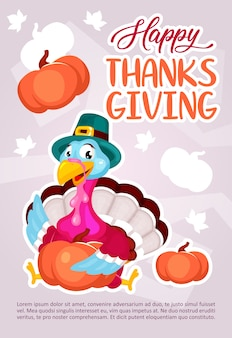 Happy thanksgiving day poster template. turkey with pumpkin. brochure, cover, booklet page concept design with flat illustrations. advertising flyer, leaflet, banner layout idea