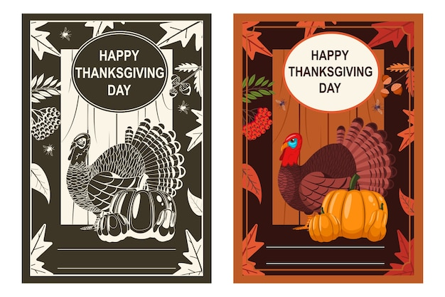 Happy thanksgiving day poster with turkey bird, pumpkin and autumn leaves.    set.