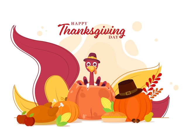 Happy thanksgiving day poster  with turkey bird wear pilgrim hat, pumpkins, chicken, corn, pie cake, fruits and leaves on white background.