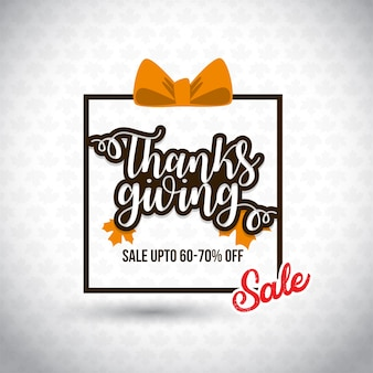 Happy thanksgiving day sale. save upto 70% off. new creative typography