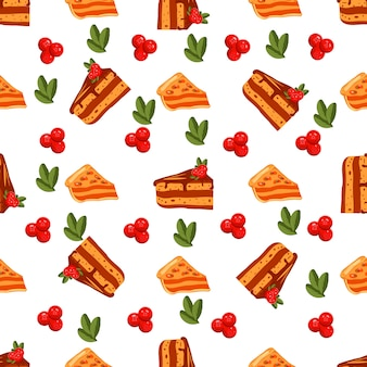 Happy thanksgiving day seamless pattern with sweet cakes