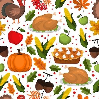 幸せな感謝祭の日のシームレスパターン