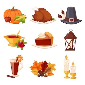 Happy thanksgiving day set .