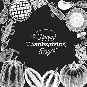 Happy thanksgiving day template. hand drawn illustrations on chalk board.