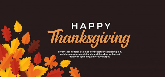 Happy thanksgiving day text minimal banner with dry fall leaves