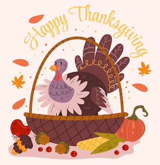 Happy thanksgiving day turkey bird character with fruit and vegetable
