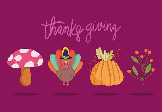 Happy thanksgiving day, turkey pumpkin mushroom branch foliage icons