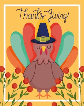 Happy thanksgiving day, turkey with hat branch berries card
