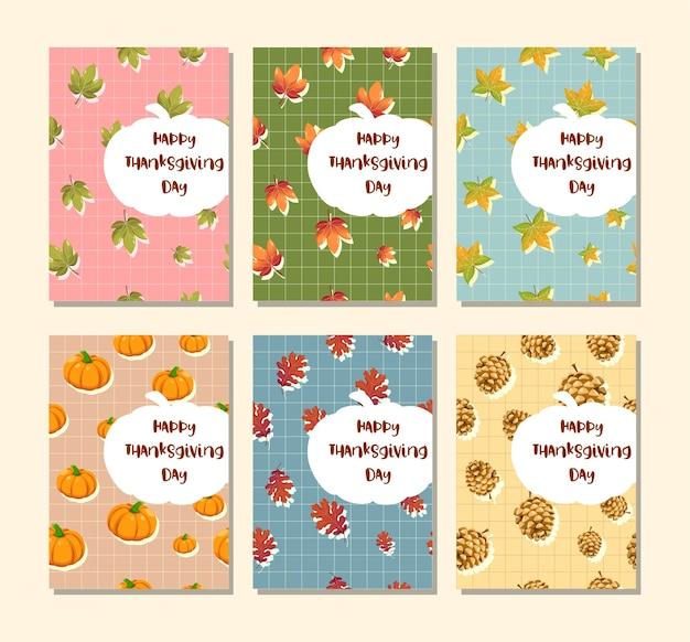 단풍 잎, 호박, 호두와 함께 행복 한 추수 감사절 수직 카드.