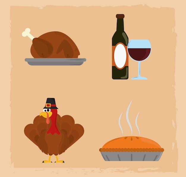 Happy thanksgiving day, wine bottle turkey cake dinner icons