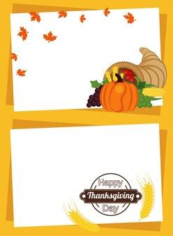 ホーンとスパイクのフレームに果物を入れた幸せな感謝祭の日。