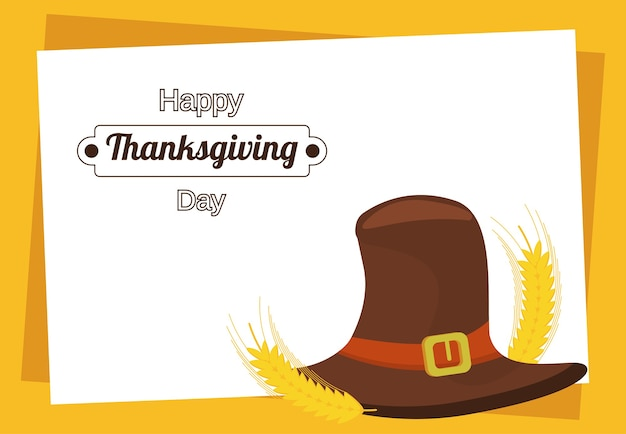 Happy thanksgiving day with pilgrim hat.