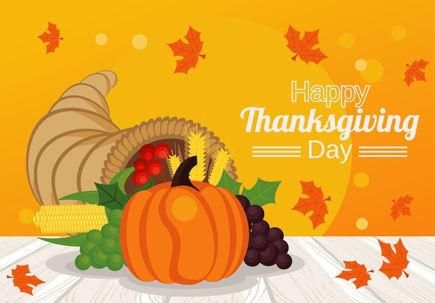 С днем благодарения с тыквой в роге и фруктах.