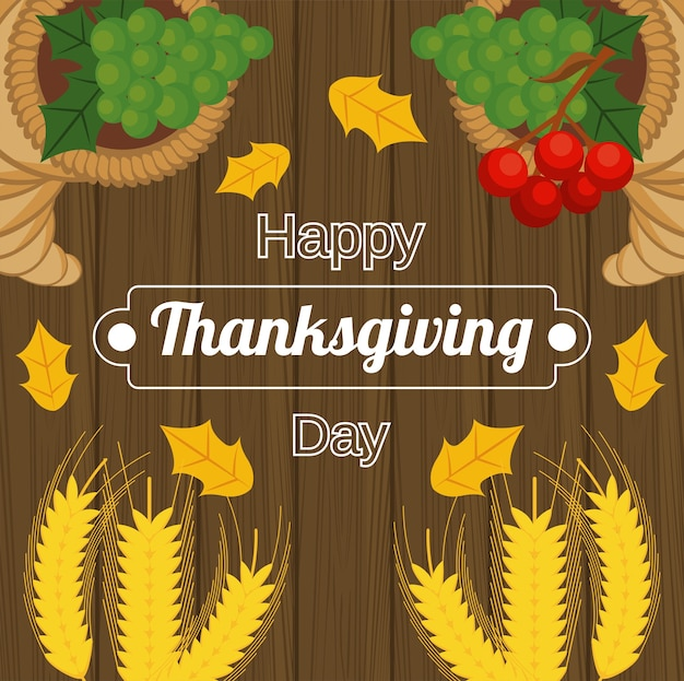 Счастливый день благодарения с шипами и фруктами в деревянных фоне.