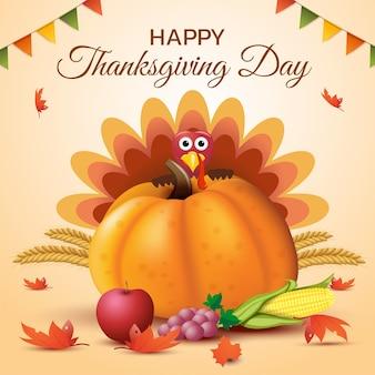 С днем благодарения с индейкой и тыквой.