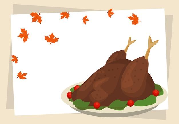 トルコ料理と葉で幸せな感謝祭の日。