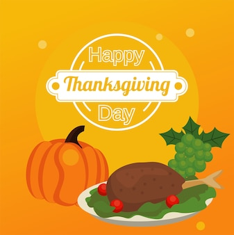 七面鳥の食べ物とかぼちゃとブドウで幸せな感謝祭の日。