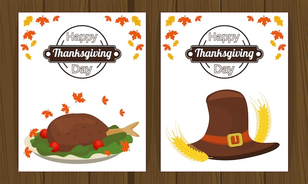 Happy thanksgiving day with turkey food and pilgrim hat.