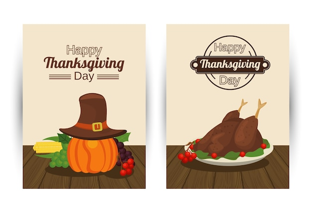 Happy thanksgiving day with turkey food and pumpkin using pilgrim hat.