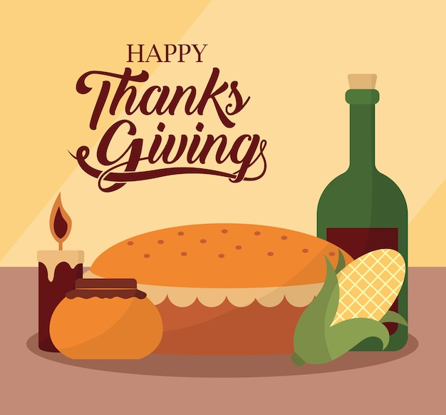 Happy thanksgiving day with wine cake honey corn and candle design, autumn season