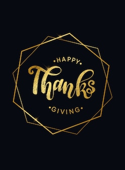 Happy thanksgiving golden greeting card