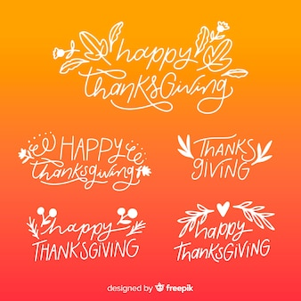 Happy thanksgiving gradient lettering badges collection