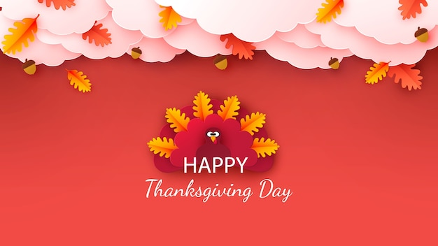 Happy thanksgiving greeting. autumn background with leaves, acorns, pumpkin and cute cartoon turkey.