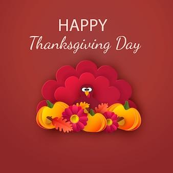 Поздравительная открытка с днем благодарения. осенний фон с листьями, желудями, тыквой и милой мультяшной индейкой ..
