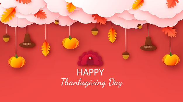 Happy thanksgiving greeting card. autumn background with leaves, acorns, pumpkin and cute cartoon turkey.