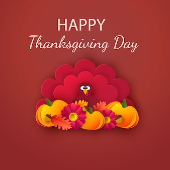 Happy thanksgiving greeting card. autumn background with leaves, acorns, pumpkin and cute cartoon turkey..