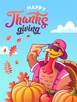Happy thanksgiving. greeting card. cool turkey in glasses, vegetables, autumn leaves and lettering