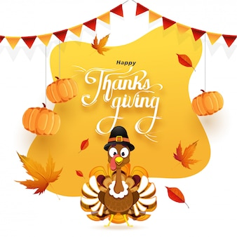 Happy thanksgiving greeting card decorated with hanging pumpkins, autumn leaves and turkey bird