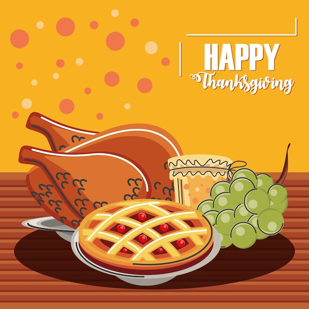 Happy thanksgiving greeting card dinner menu with turkey cake jelly and grapes